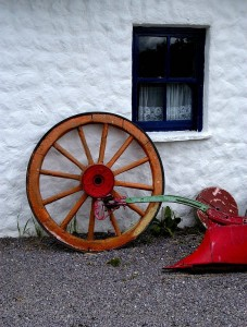 wheel-red-on-white-wall
