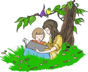 two-kids-reading-near-a-tree