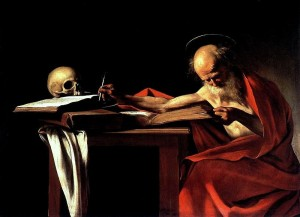 st-jerome-carvaggio-gothic-writing