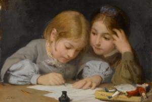Albert Anker 1865 children writing pub dom