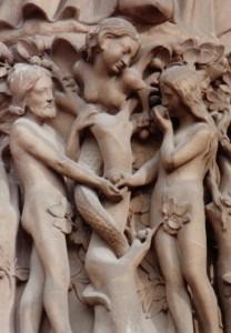 France_Paris_Notre-Dame-Adam_and_Eve female serpent by Rebecca Kennison WC CC