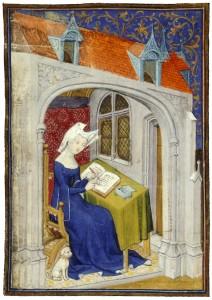 medieval woman writing big