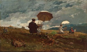 Winslow_Homer_-_Artists_Sketching_in_the_White_Mountains due to age pd