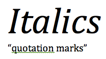 italics quotation marks