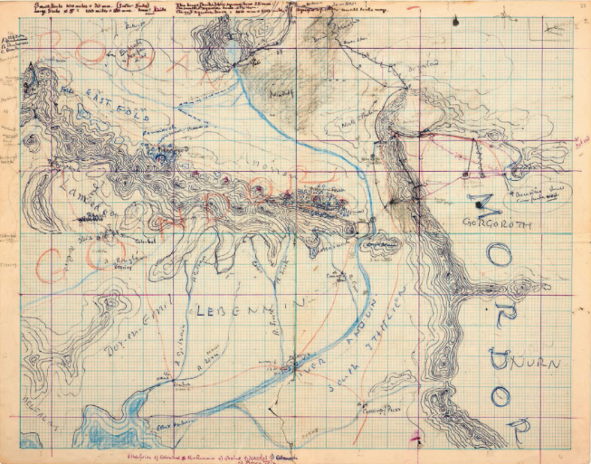 map of Rohan Gondor and Mordor Tolkien drawing writing LoTR